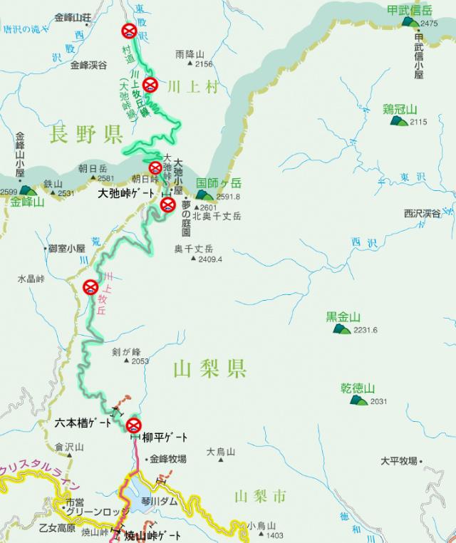 【大弛峠】川上牧丘林道の通行規制(冬期閉鎖)地図【登山口ナビ】