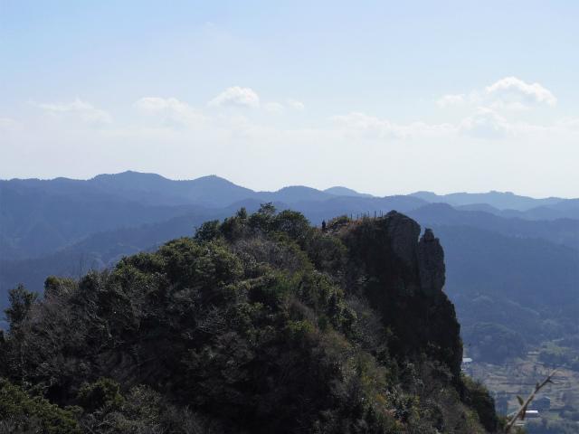 伊予ヶ岳(平群天神社コース) 登山口コースガイド 北峰山頂からの南峰の展望【登山口ナビ】