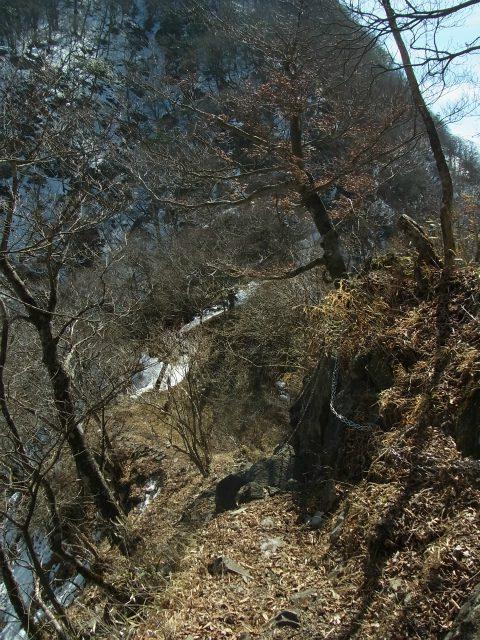 檜洞丸(日陰沢~犬越路コース) 登山口コースガイド 小笄と大笄の鞍部 【登山口ナビ】