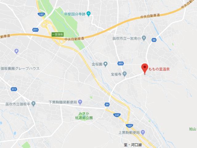 笛吹桃源郷・ももの里温泉 地図【登山口ナビ】