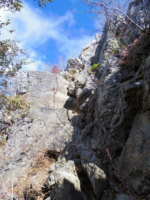 両神山(日向大谷・表参道ルート) 登山口コースガイド 山頂直下の鎖場【登山口ナビ】