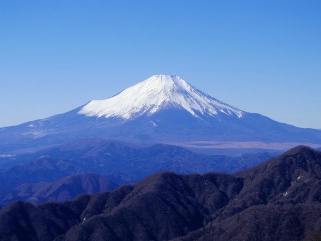 丹沢山(早戸大滝~大滝新道) 登山口コースガイド 丹沢山山頂からの富士山【登山口ナビ】