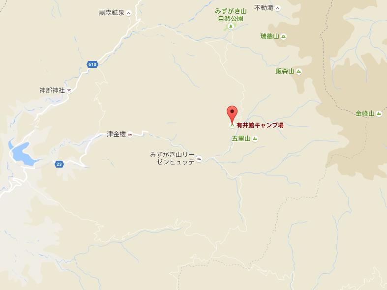 瑞牆山・金峰山 手打ちそば有井館 地図【登山口ナビ】