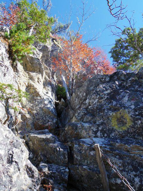 大ナゲシ(赤岩峠経由) 登山口コースガイド 鎖場【登山口ナビ】