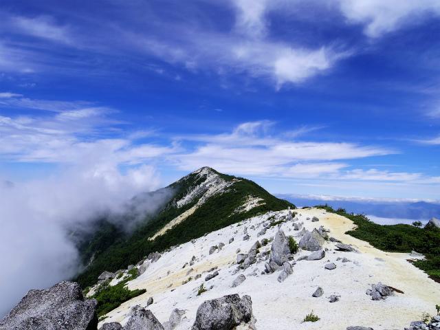 鳳凰三山(青木鉱泉~ドンドコ沢コース) 薬師岳山頂からの観音岳の眺望【登山口コースガイド】