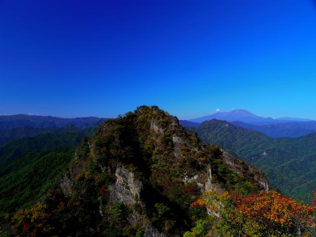 表妙義・金洞山(中ノ岳~鷹戻し~相馬岳) 登山口コースガイド 中ノ岳山頂からの西岳・浅間山【登山口ナビ】