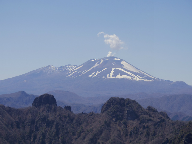 表妙義 白雲山(大の字~相馬岳)西肩から浅間山の眺望【登山口コースガイド】