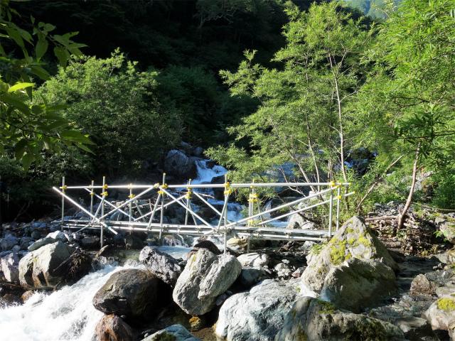 北岳(左俣コース)登山口コースガイド 大樺沢仮設橋【登山口ナビ】