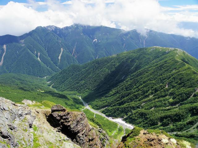 北岳(左俣コース)登山口コースガイド 北岳山頂からの大樺沢雪渓と鳳凰三山【登山口ナビ】