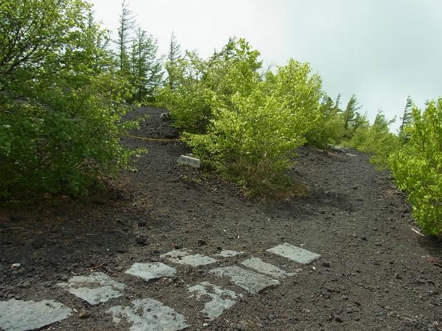 富士山 御中道(大沢崩れ) 登山口コースガイド 奥庭遊歩道工事用道路分岐【登山口ナビ】