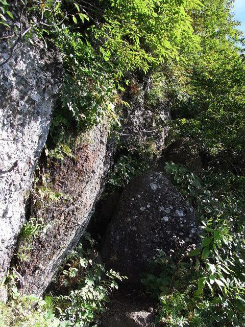 戸隠山(西岳・本院岳~P1尾根) 登山口コースガイド トラバースの鎖場【登山口ナビ】