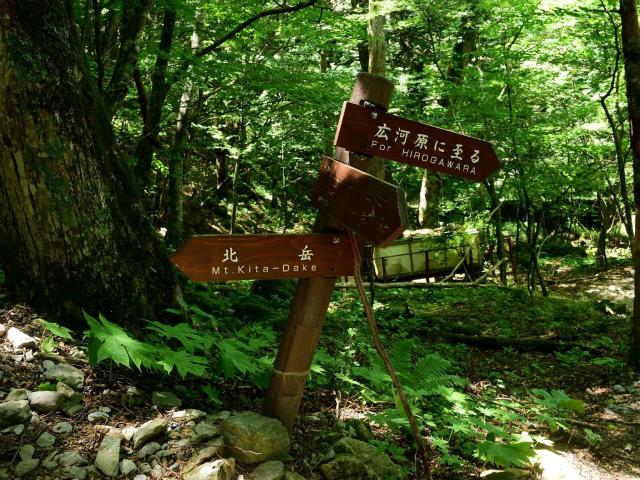 北岳(左俣コース)登山口コースガイド 広河原山荘前の道標【登山口ナビ】