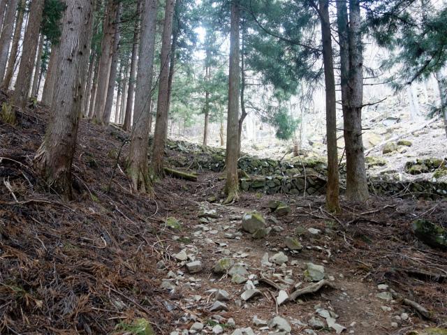 乾徳山(銀晶水・徳和コース)登山口コースガイド 石積みの堰堤【登山口ナビ】
