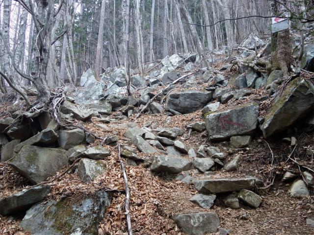 乾徳山(銀晶水・徳和コース)登山口コースガイド 岩の転がる斜面【登山口ナビ】