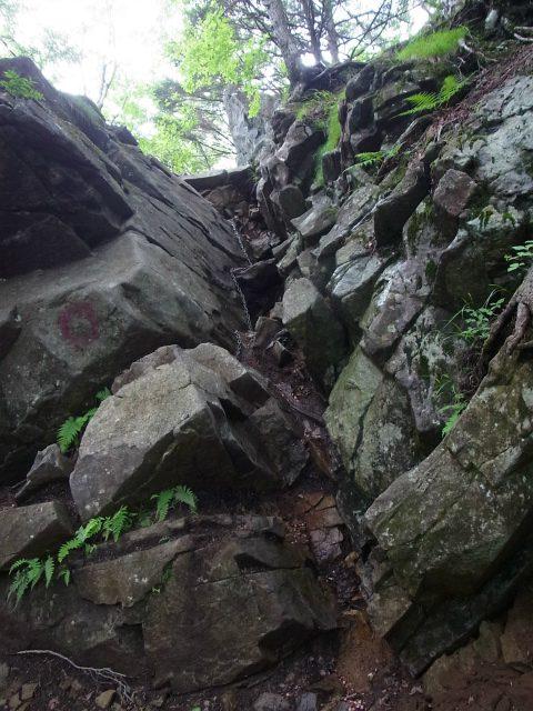 乾徳山(大平高原~道満尾根)登山口コースガイド 鎖場【登山口ナビ】