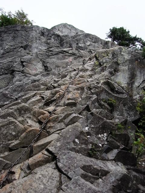 乾徳山(大平高原~道満尾根)登山口コースガイド カミナリ岩鎖場【登山口ナビ】
