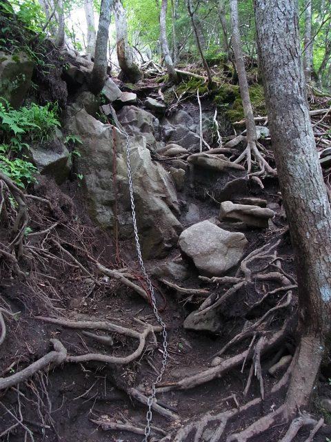 乾徳山(銀晶水・徳和コース)登山口コースガイド 鎖場【登山口ナビ】