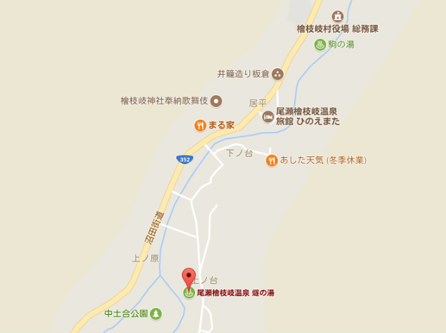 尾瀬檜枝岐村 燧の湯 地図【登山口ナビ】