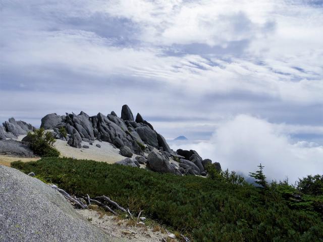 鳳凰三山(広河原~白鳳峠・高嶺)登山口コースガイド 薬師岳山頂からの富士山【登山口ナビ】