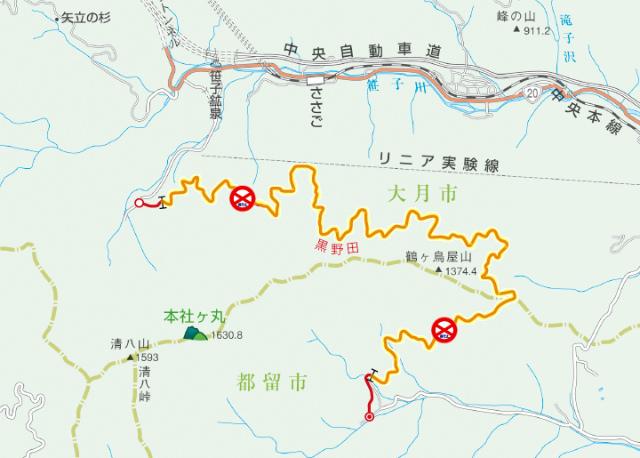 黒野田林道の通行止区間地図【登山口ナビ】