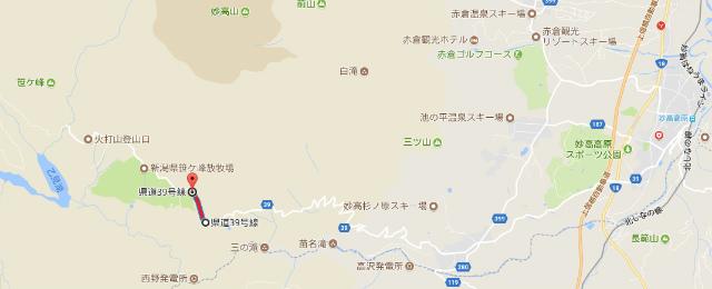 県道39号妙高高原公園線の夜間通行止地図【登山口ナビ】