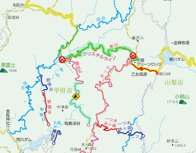 【乙女高原】荒川林道(クリスタルライン)の通行規制地図【登山口ナビ】