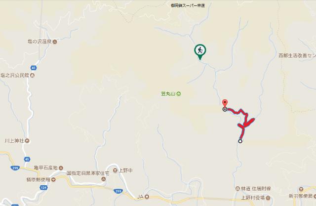 【笠丸山】住居附林道の通行規制地図【登山口ナビ】