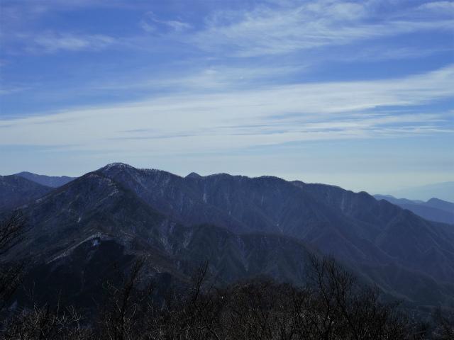 大室山(日陰沢新道コース) 登山口コースガイド 加入道山分岐から檜洞丸の眺望【登山口ナビ】
