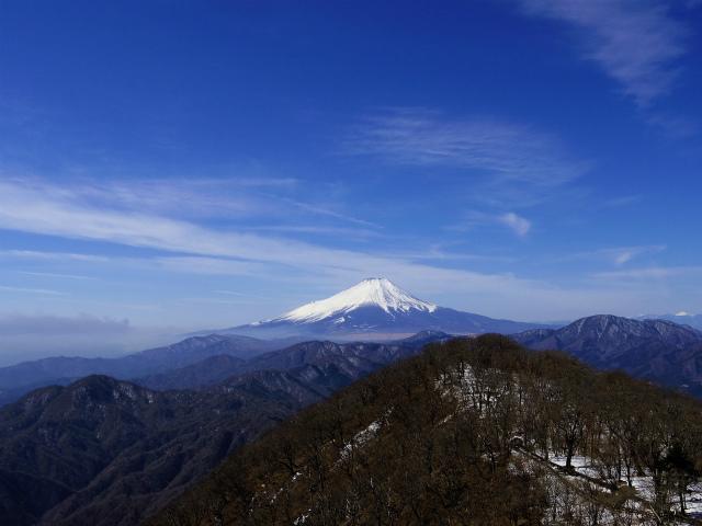 大室山(日陰沢新道コース) 登山口コースガイド 加入道山分岐から富士山の眺望【登山口ナビ】