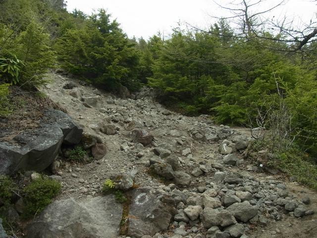 黒斑山(表コース・中コース) 登山口コースガイド ガレ場【登山口ナビ】