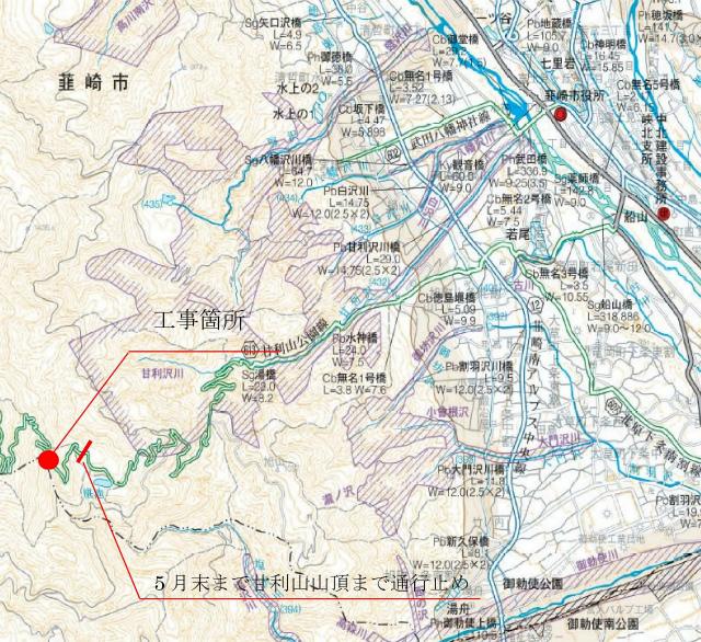 【甘利山】県道613号甘利山公園線の工事通行規制地図【登山口ナビ】