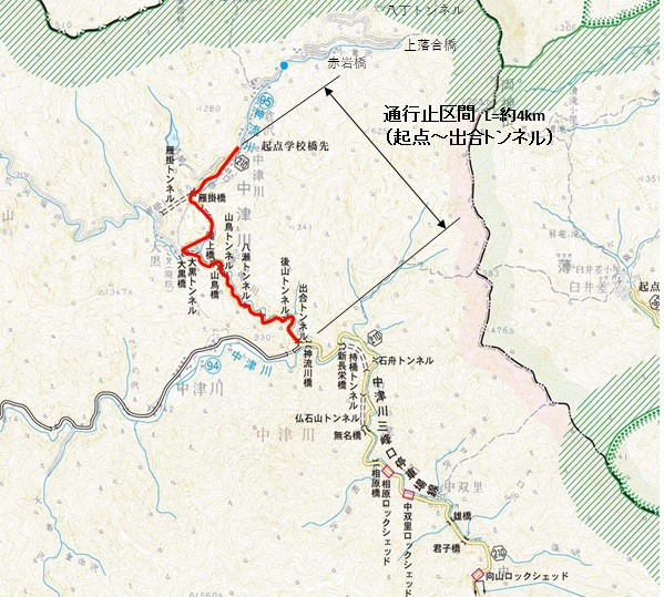 【両神山】金山志賀坂林道・県道210号線の通行規制地図【登山口ナビ】
