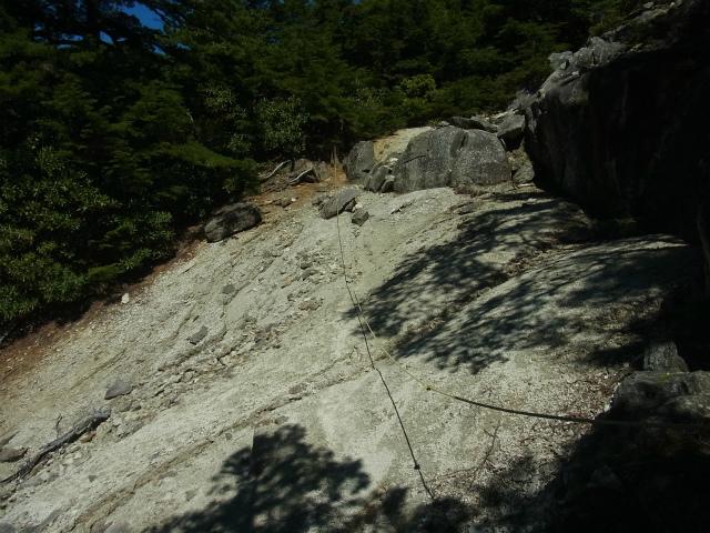 金峰山・五丈石(アコウ平~表参道)登山口コースガイド 崩落地の横断【登山口ナビ】