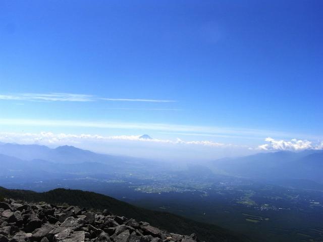 八ヶ岳・編笠山(観音平~青年小屋周回) 登山口コースガイド 編笠山山頂からの富士山【登山口ナビ】