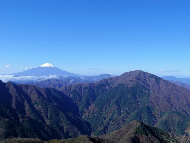 蛭ヶ岳(日陰沢橋~姫次)登山口コースガイド 崩落地上部からの大室山と富士山【登山口ナビ】