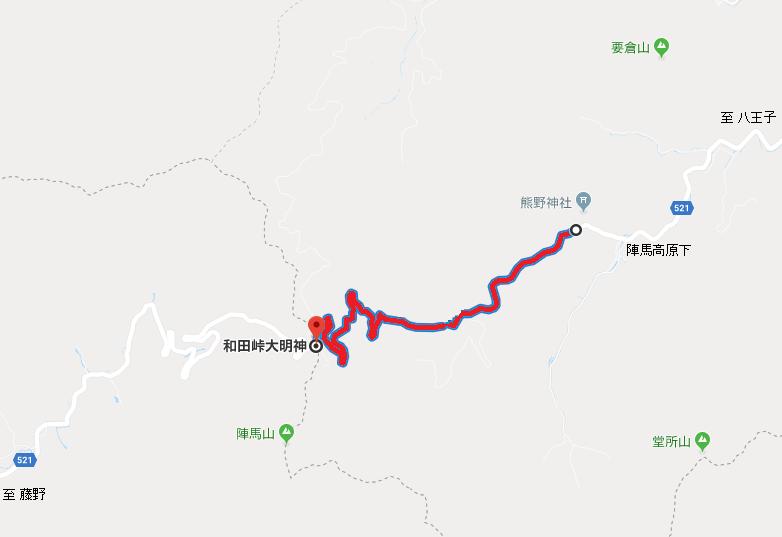 【陣馬山】都道521号線(陣馬街道)の車両通行止地図【登山口ナビ】