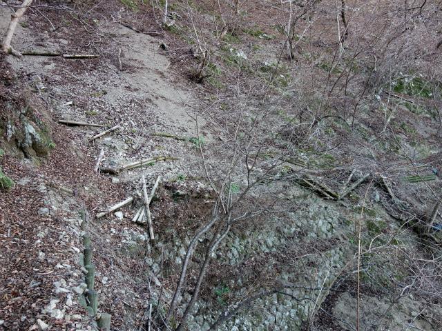 三峰山(物見峠~不動尻周回)登山口コースガイド トラバース路の崩壊箇所【登山口ナビ】