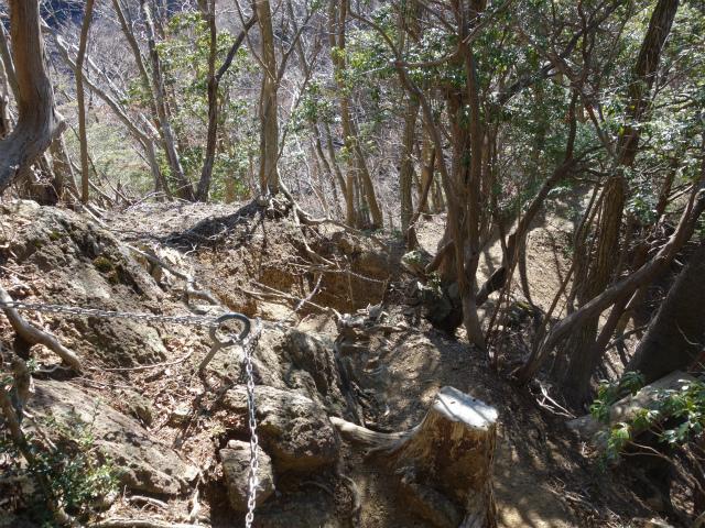 三峰山(物見峠~不動尻周回)登山口コースガイド 西峰鎖場【登山口ナビ】