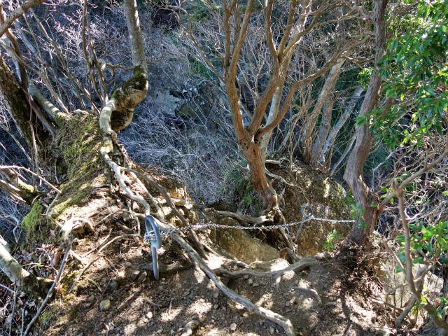 三峰山(物見峠~不動尻周回)登山口コースガイド 山頂100m手前の鎖場【登山口ナビ】