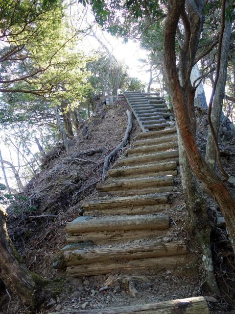 三峰山(物見峠~不動尻周回)登山口コースガイド 山頂階段【登山口ナビ】