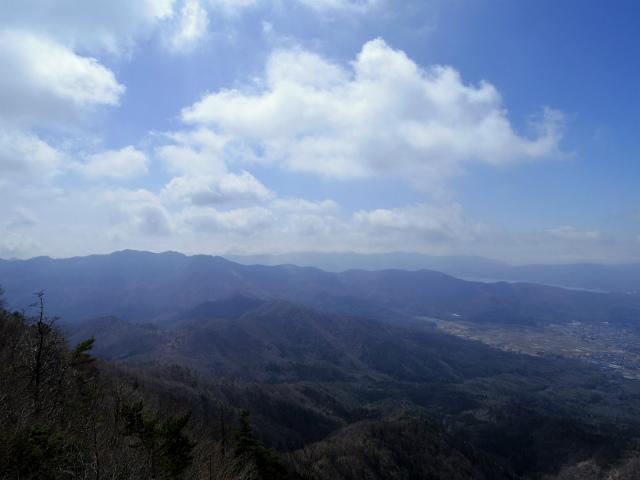 杓子山(鳥居地峠~高座山)登山口コースガイド 杓子山山頂からの大平山や山中湖の眺望【登山口ナビ】