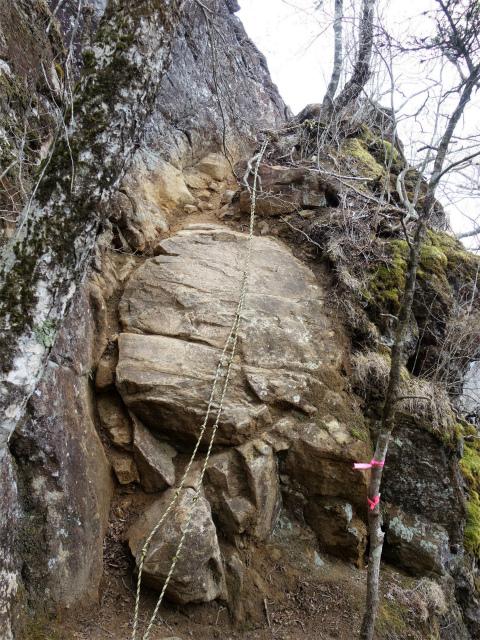 曲岳・黒富士(観音峠大野山林道コース)登山口コースガイド 展望ブリッジ岩のトラバース【登山口ナビ】