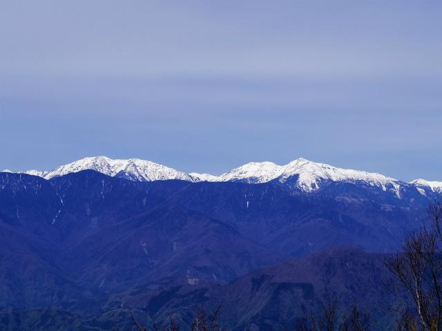 毛無山(不動の滝コース)登山口コースガイド 稜線分岐の岩の展望台からの赤石岳・荒川岳【登山口ナビ】