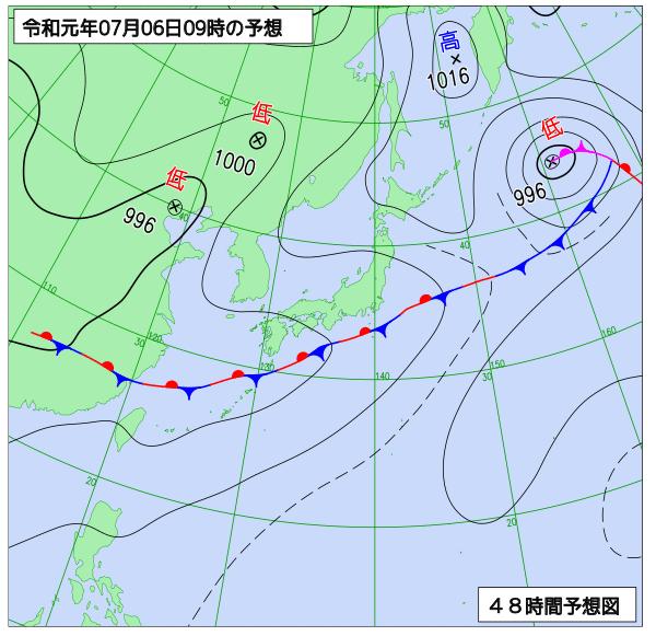 2019年7月6日午前9時の地上予想天気図【登山口ナビ】
