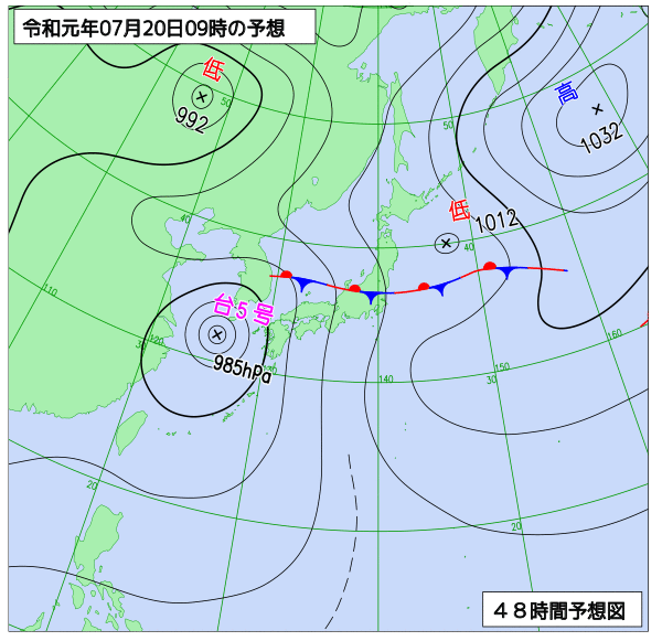 2019年7月20日の予想天気図【登山口ナビ】