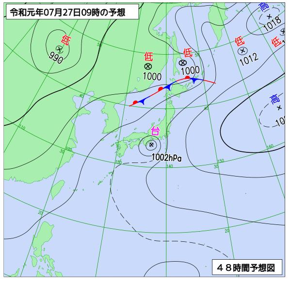 2019年7月27日9時の地上予想天気図【登山口ナビ】