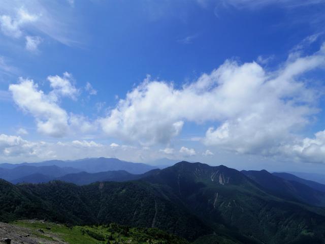 日光白根山(ロープウェイ山頂駅コース) 登山口コースガイド 砂礫の道からの白錫尾根方面の眺望【登山口ナビ】