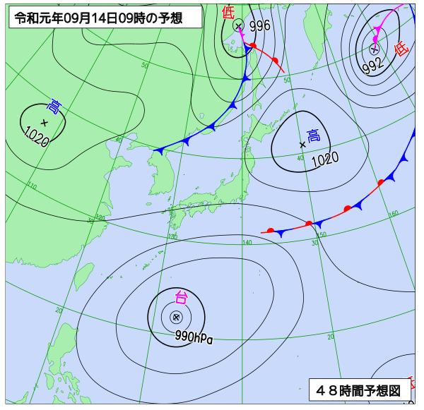 2019年9月14日の予想天気図【登山口ナビ