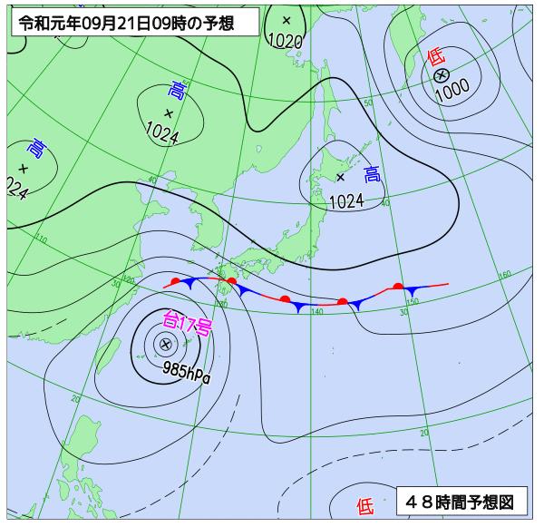 2019年9月21日の予想天気図【登山口ナビ】