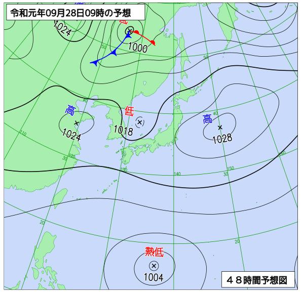 2019年9月28日の予想天気図【登山口ナビ】